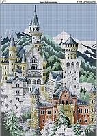 Схема вышивки бисером на габардине Замок Нойшванштайн
