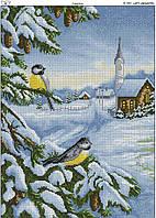 Схема вышивки бисером на габардине Снегири