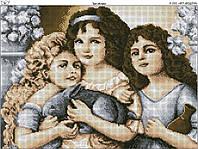 Схема вышивки бисером на габардине Три Сестры