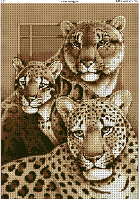 Схема вышивки бисером на габардине Семья леопардов