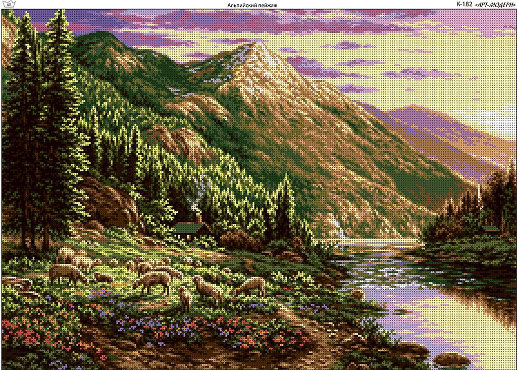 Схема вышивки бисером на габардине Альпийский пейзаж