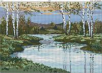 Схема вышивки бисером на габардине Река