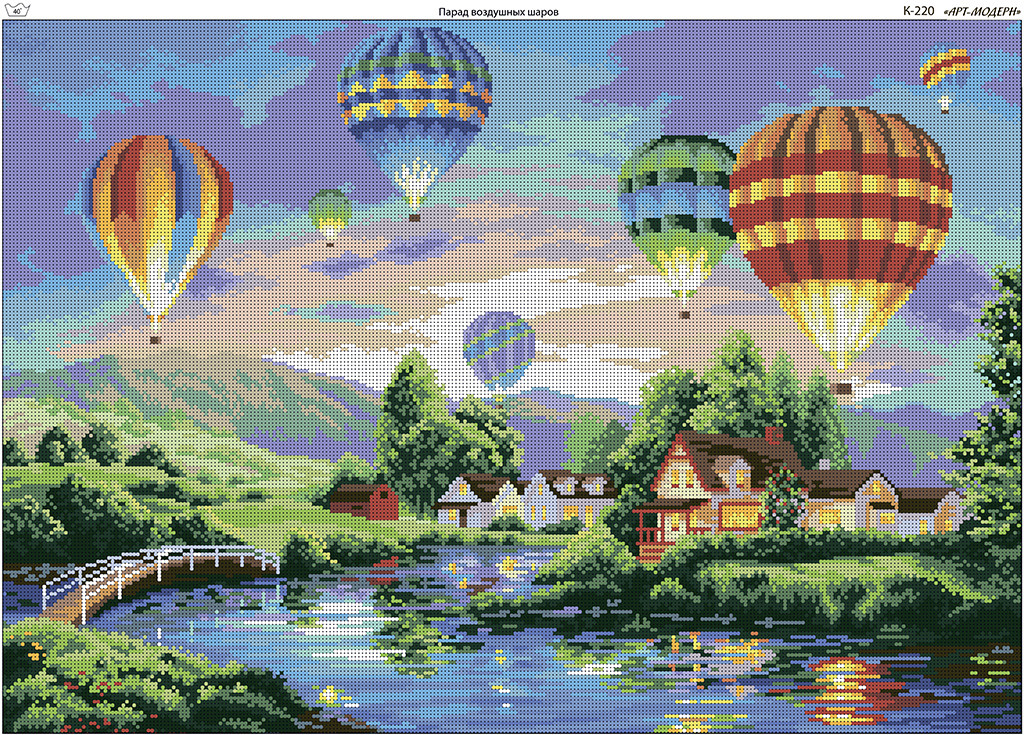 Схема вышивки бисером на габардине Парад воздушных шаров