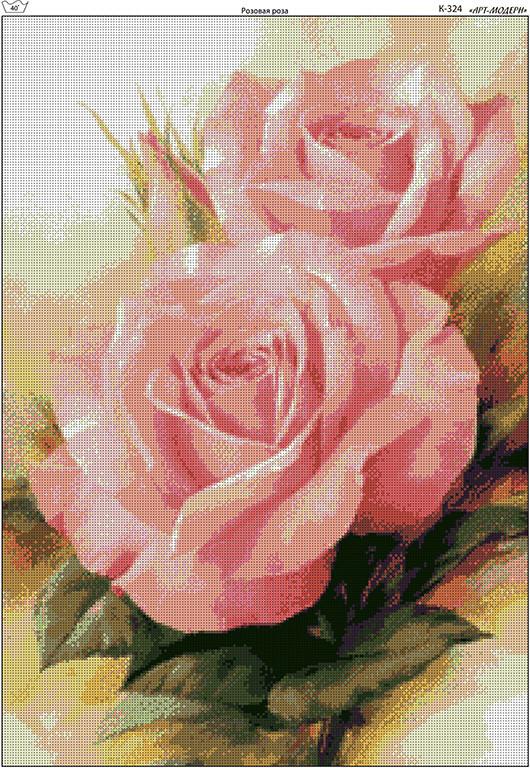 Схема вышивки бисером на габардине Розовая роза