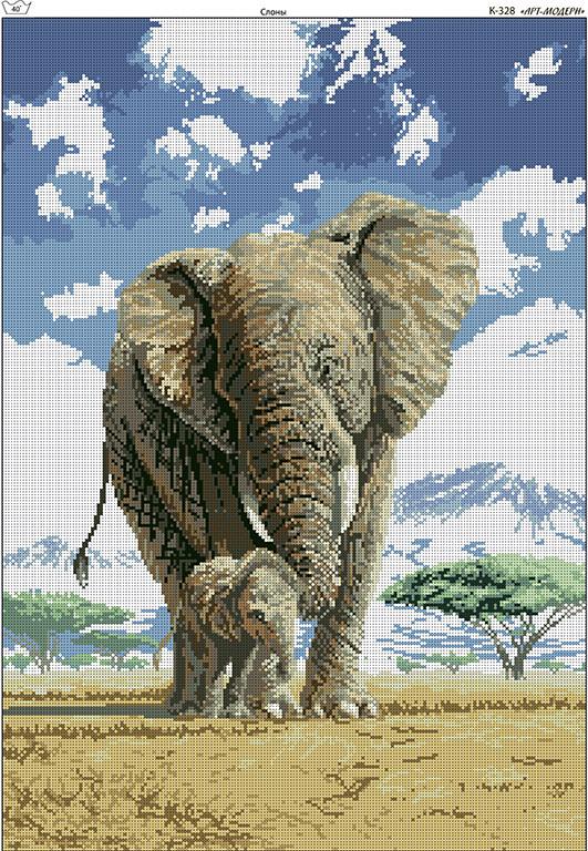 Схема вышивки бисером на габардине Слоны