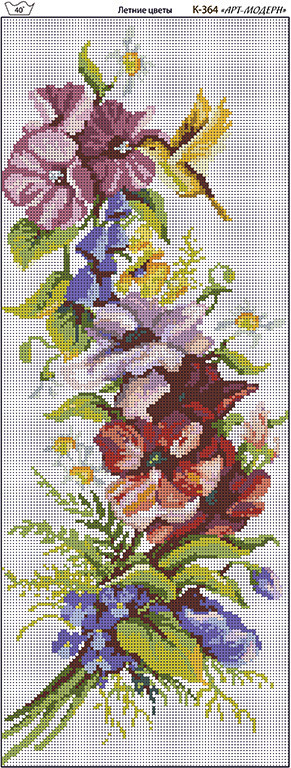 Схема вышивки бисером на габардине Летние цветы вертикаль