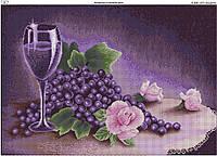 Схема вышивки бисером на габардине Натюрморт в лиловом цвете