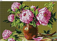 Схема вышивки бисером на габардине Розовые пионы