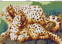 Схема вышивки бисером на габардине Пара леопардов