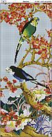 Схема вышивки бисером на габардине Попугаи вертикаль