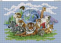 Схема вышивки бисером на габардине В мире животных