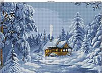 Схема вышивки бисером на габардине Зимняя сказка