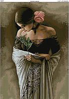 Схема вышивки бисером на габардине Испанка с цветком