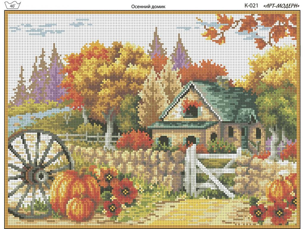 Схема вышивки бисером на габардине Осенний домик