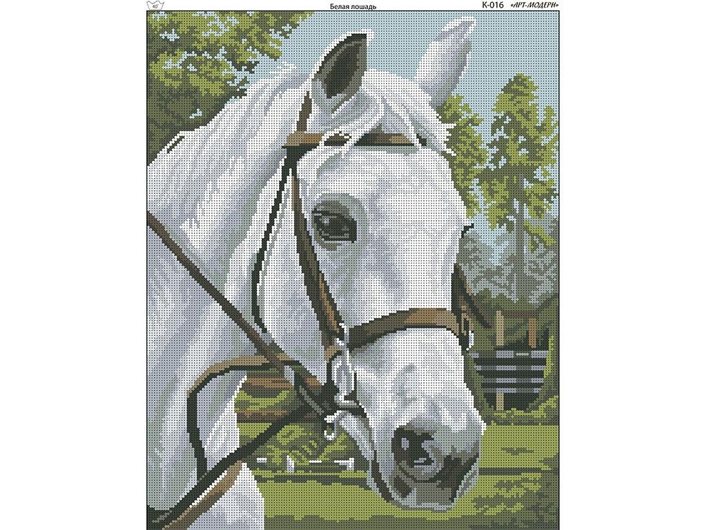 Схема вышивки бисером на габардине Белая лошадь