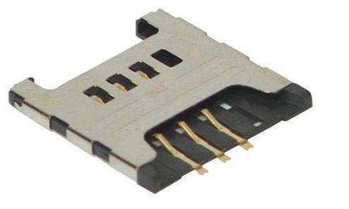 (Коннектор) Разъем SIM-карты Samsung C3322 / C3222 / C3750 / C3752 / S3350 / S3850 / S5300 / S5360 / S5380 / S5570 / S5610 / S6500 / E1050 / E1230 /