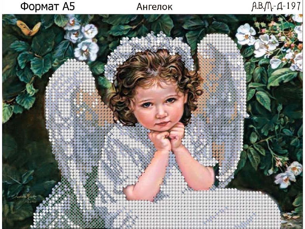 Схема вышивки бисером на габардине Ангелок