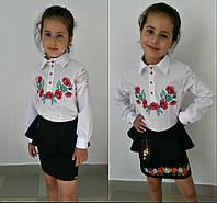 Подростковая белая блузка с красными цветами 616, фото 1