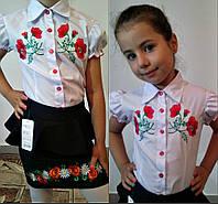 Детская белая блузка  с вышивкой 611