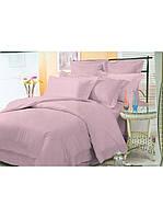 Евро комплект постельного белья двуспальный Страйп-Сатин Розовый 240х220 см (542305)