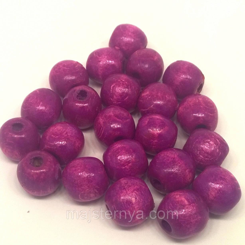 Бусины деревянные 13мм (100шт в упаковке) розово-сиреневого цвета