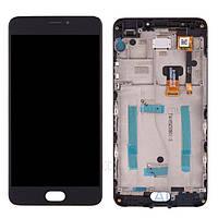 Дисплей (экран) для телефона Meizu M3 Note M681H + Touchscreen with frame (copy) Black
