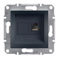 Розетка компьютерная RJ45 UTP кат. 5e антрацит Asfora Plus EPH4300171