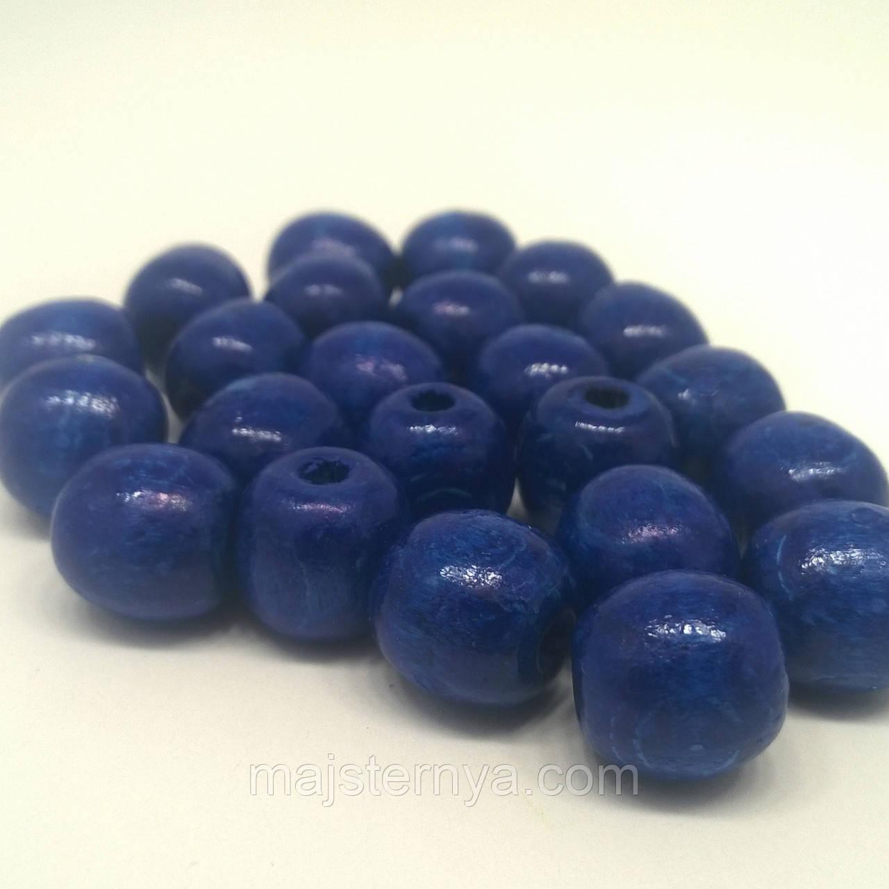 Дерев'яні бусини 1,3см синього кольору