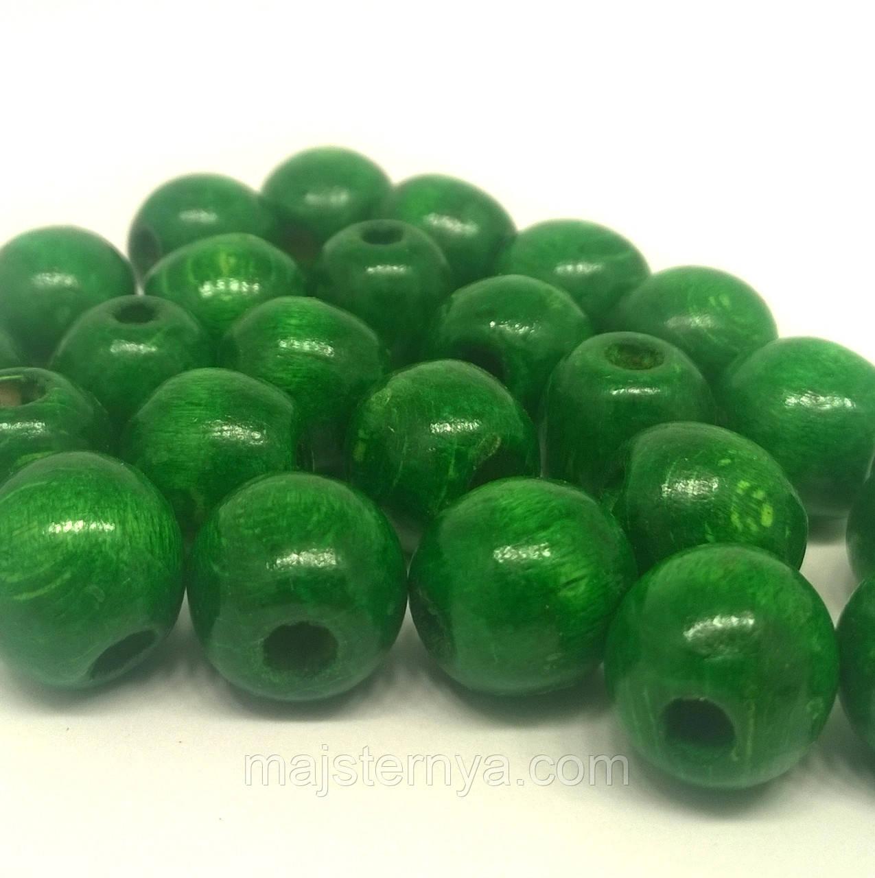 Дерев'яні бусини 1,3см зелені
