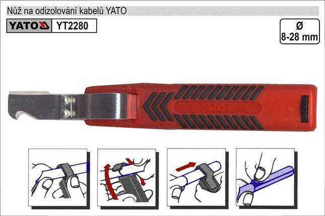 Нож для снятия изоляции 8-28мм YATO YT-2280, фото 2