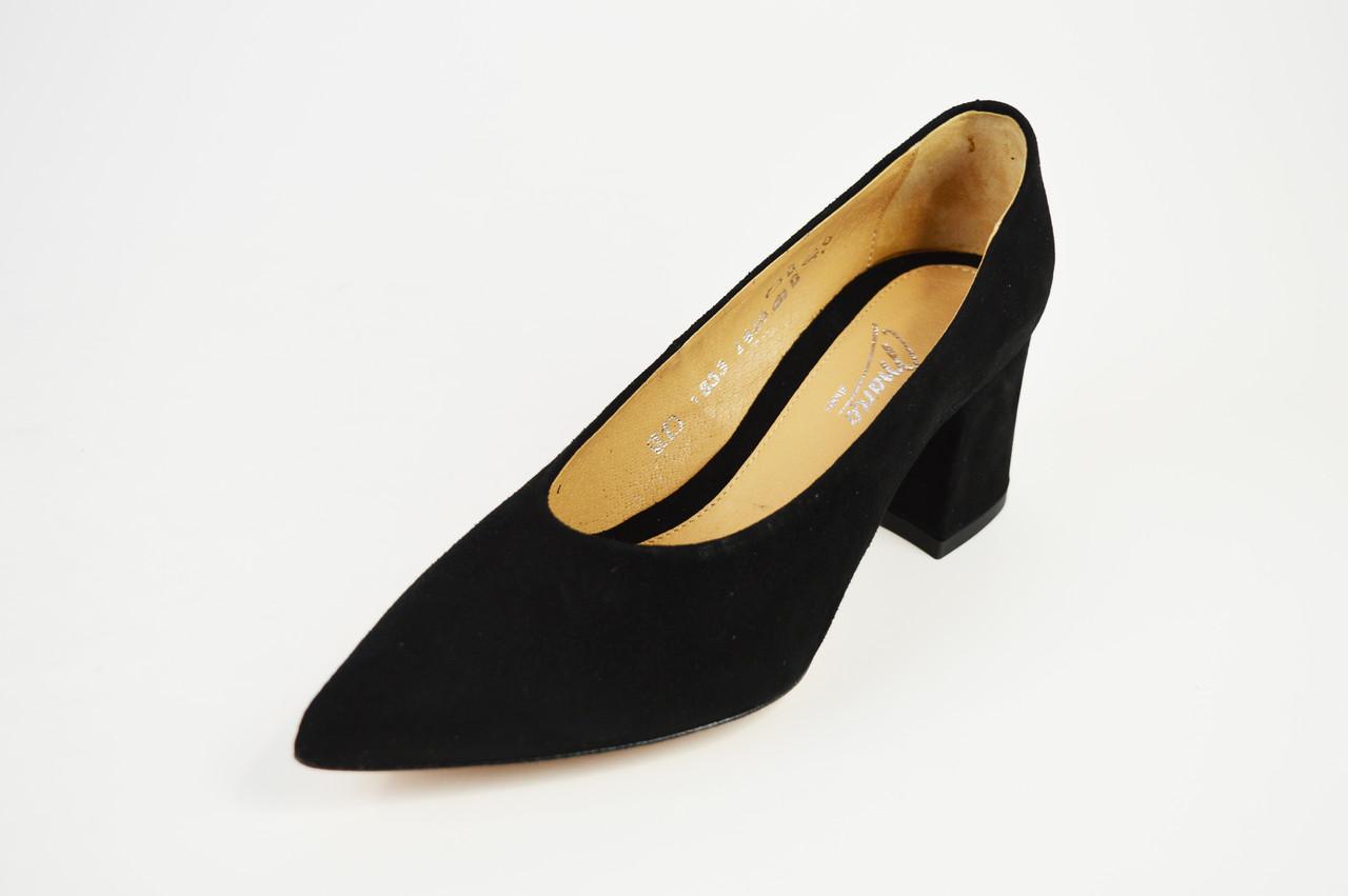 Туфли Marco замша на каблуке черные 1456