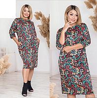 Женское платье трикотажное в цветочный принт, с 48-586 размер, фото 1