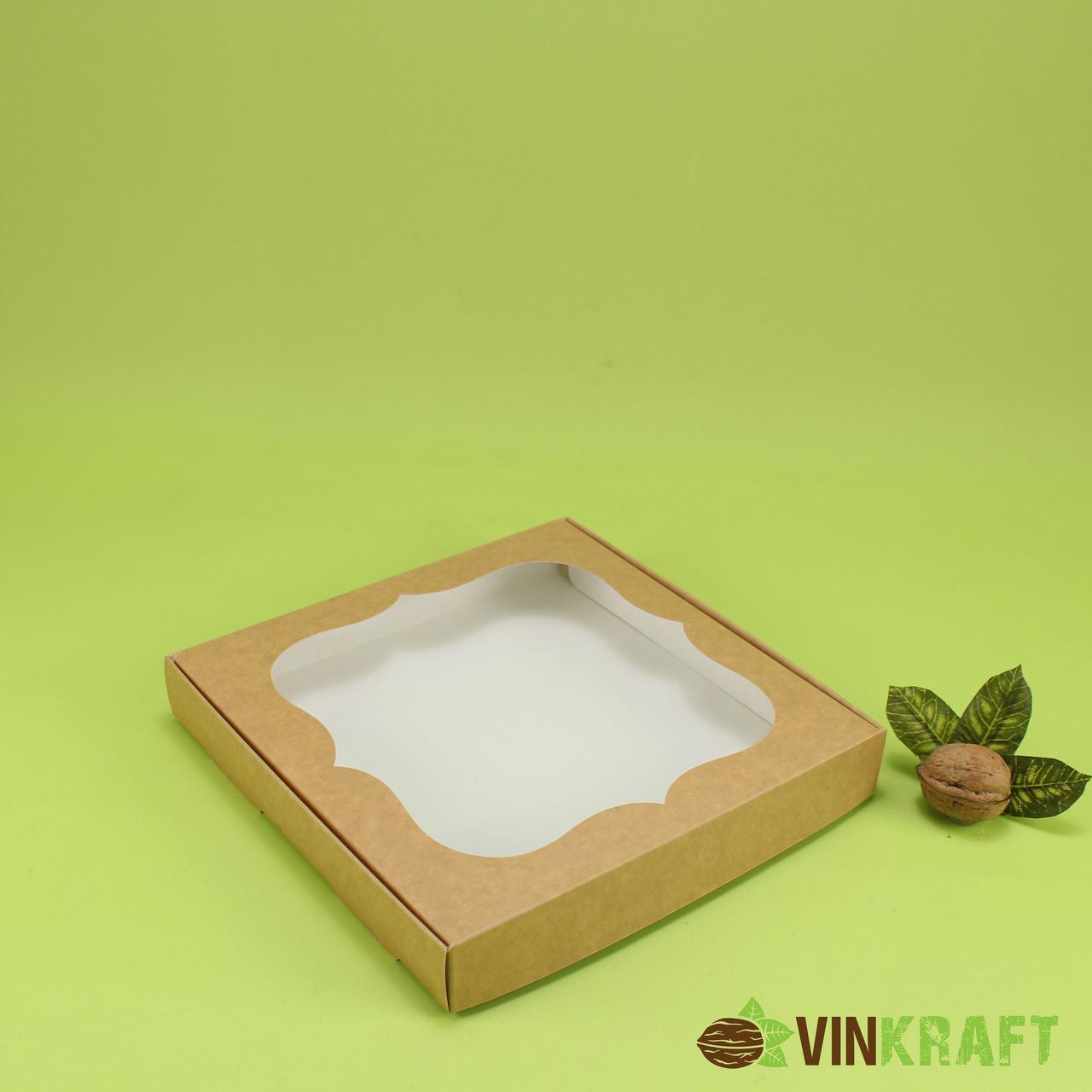 Коробка 200*200*30 для пряника з вікном, крафт