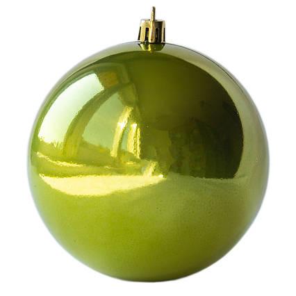 Елочная игрушка - шар, D10 см, оливковый, глянец, пластик (890933)