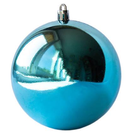 Елочная игрушка - шар, D10 см, бирюзовый, глянец, пластик (890940)