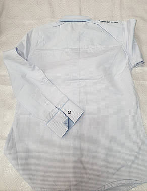 Рубашка для мальчика 146, 152 роста Нарядно-голубая, фото 2