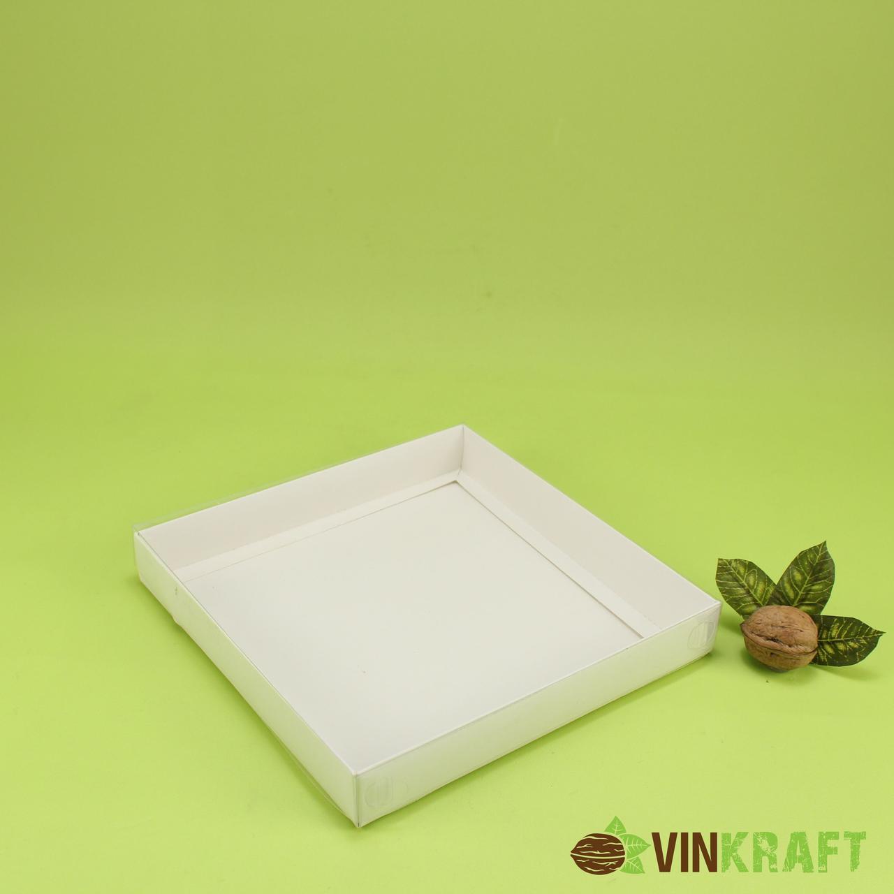 Коробка 200*200*30 для пряника з прозорою кришкою, біла