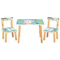 Детский столик и 2 стула Bambi Котики 501-58-2, деревянные