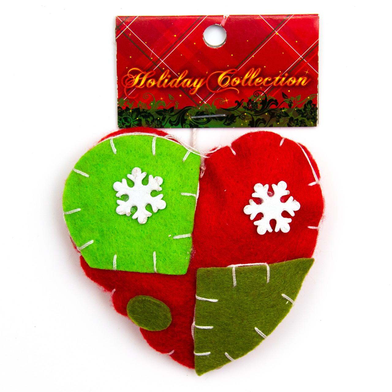Елочная игрушка сувенирная фигурка из войлока, сердце, 12см (000425-3)