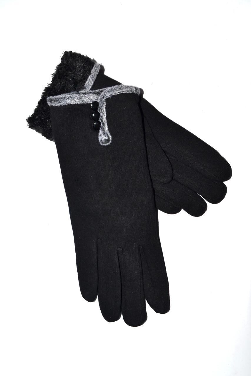 Женские перчатки трикотаж/мех от 10 пар оптом