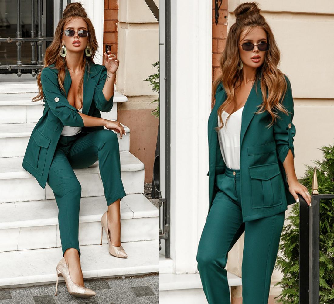 Классический женский костюм пиджак с накладными карманами и брюки / 3 цвета 403-411