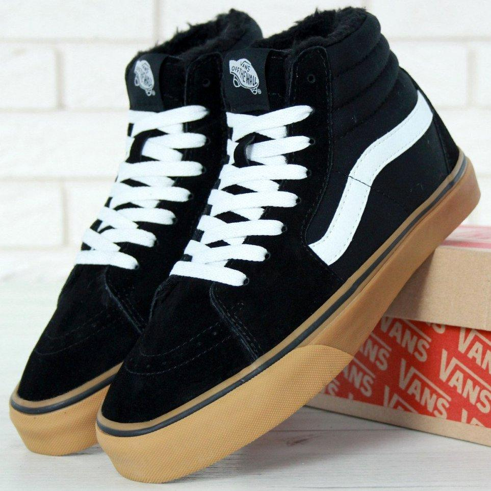 Мужские зимние кеды Vans Old Skool high CANVAS SK8-HI с мехом, vans old school, ванс олд скул