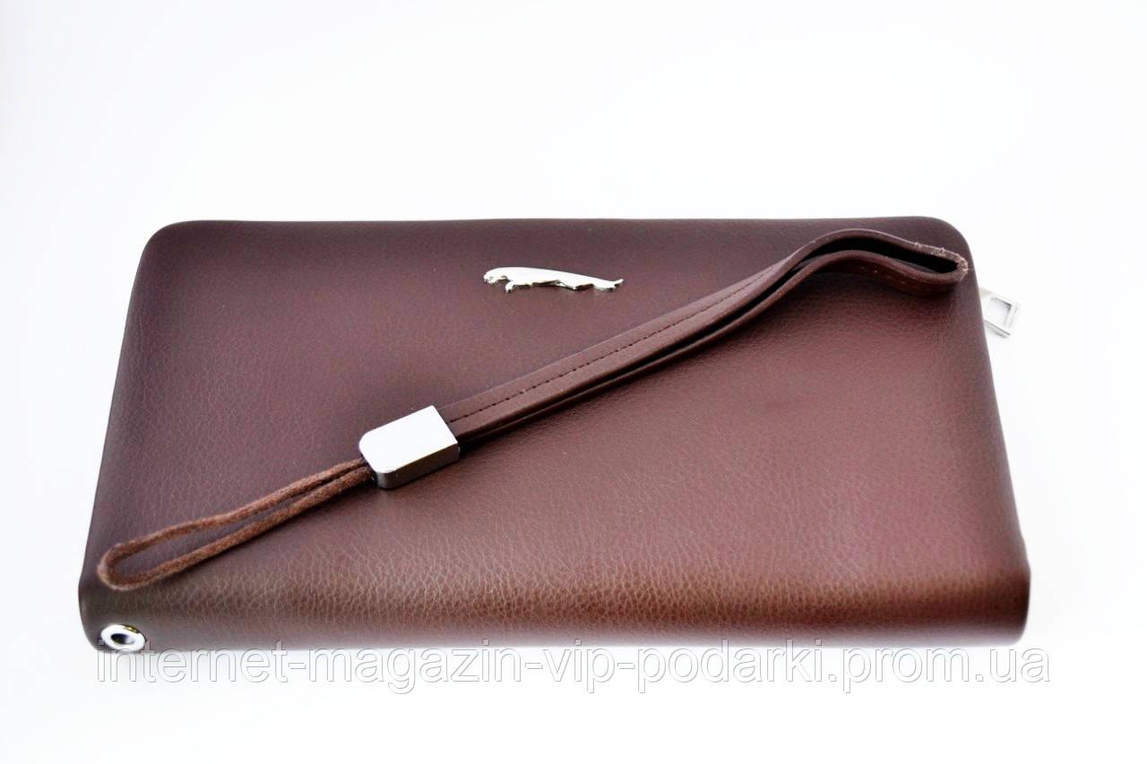 Клатч-барсетка с логотипои Jaguar из натуральной кожи