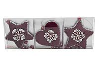 Елочное украшение из ткани з бисером, набор - 3шт.  (430178)