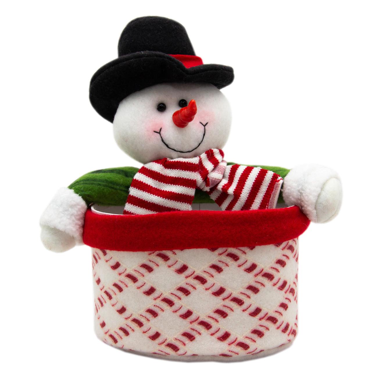 Новогодняя сувенирная фигурка Снеговик с картонным ведерком 21 см (430444)