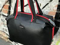 Спортивная сумка из PU кожи стильная модная вместительная Tommy Hilfiger, цвет черный, фото 1