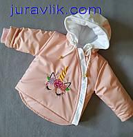 Демисезонная курточка 68р для девочки Единорожек
