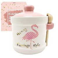 Банка для меда с деревянной ложкой 'Фламинго' (13*12см, об-м 450мл) 700-04-13