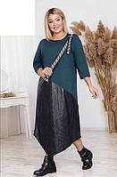 Платье асимметричное с кожаными вставками, с 50-60 размер, фото 1