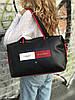 Спортивная сумка из PU кожи черная стильная модная вместительная Tommy Hilfiger